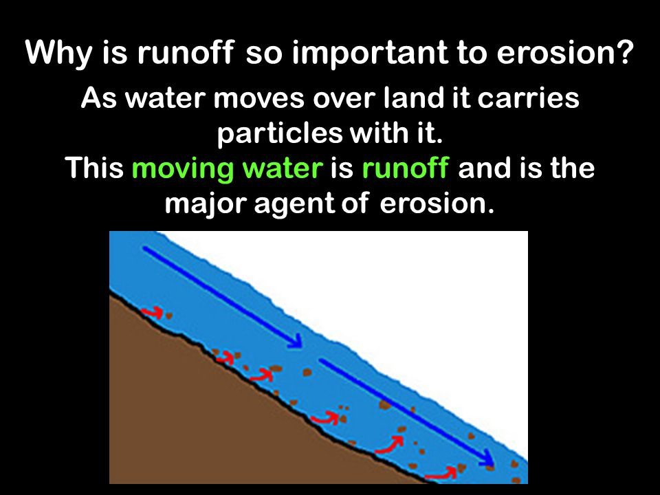Why is runoff so important to erosion? As water moves over land it carries particles with it. This moving water is runoff and is the major agent of er