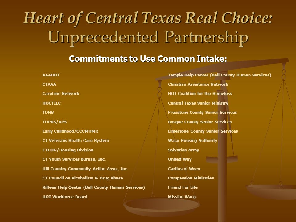 Heart of Central Texas Real Choice: Unprecedented Partnership Commitments to Use Common Intake: AAAHOTTemple Help Center (Bell County Human Services) CTAAAChristian Assistance Network CareLinc NetworkHOT Coalition for the Homeless HOCTILCCentral Texas Senior Ministry TDHSFreestone County Senior Services TDPRS/APSBosque County Senior Services Early Childhood/CCCMHMRLimestone County Senior Services CT Veterans Health Care SystemWaco Housing Authority CTCOG/Housing DivisionSalvation Army CT Youth Services Bureau, Inc.United Way Hill Country Community Action Assn., Inc.Caritas of Waco CT Council on Alcoholism & Drug AbuseCompassion Ministries Killeen Help Center (Bell County Human Services)Friend For Life HOT Workforce BoardMission Waco