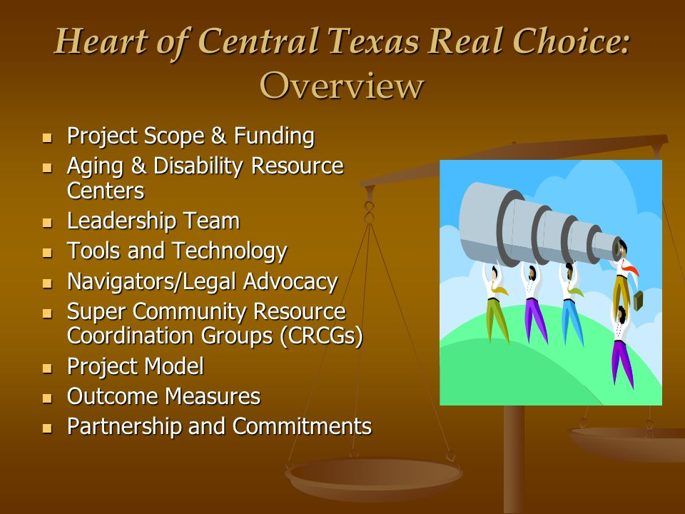 Heart of Central Texas Real Choice: Service Area 13 Counties: Bell, Bosque, Coryell, Falls, Freestone, Hamilton, Hill, Lampasas, Limestone, McLennan, Milam, Mills and San Saba 13 Counties: Bell, Bosque, Coryell, Falls, Freestone, Hamilton, Hill, Lampasas, Limestone, McLennan, Milam, Mills and San Saba Major Cities: Waco, Belton/Temple, Killeen and Hillsboro Major Cities: Waco, Belton/Temple, Killeen and Hillsboro Population: 696,054 Population: 696,054 Persons with Disabilities: 119,689 Persons with Disabilities: 119,689 I-35 Corridor (40% of Texas population) I-35 Corridor (40% of Texas population)