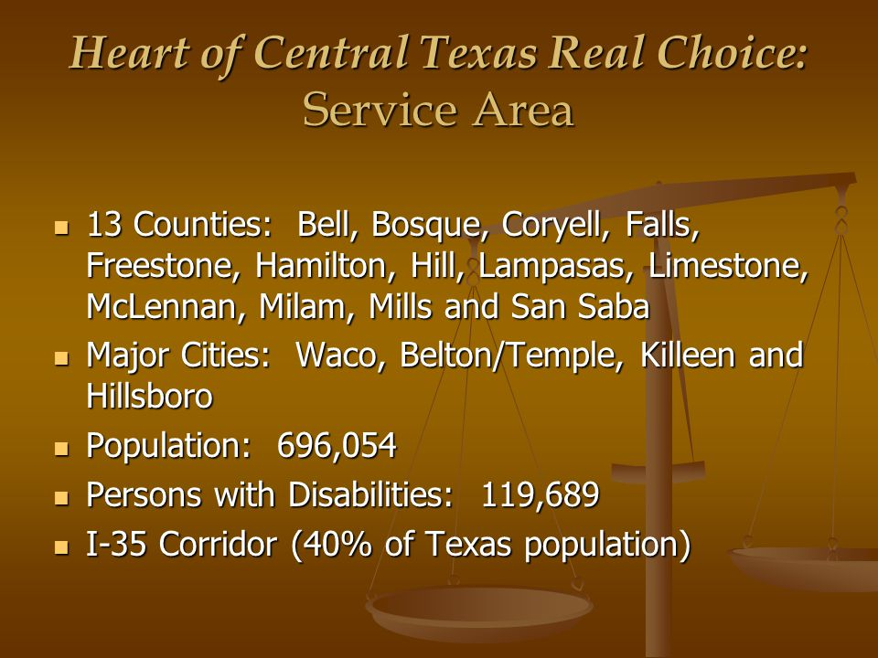 Heart of Central Texas Real Choice: Outcome Measurement  Consumer Outcomes: relocations, diversions, community/family participation, person/family centered plans, health and safety, freedom from abuse and neglect, independence, futures planning, and consumer satisfaction.