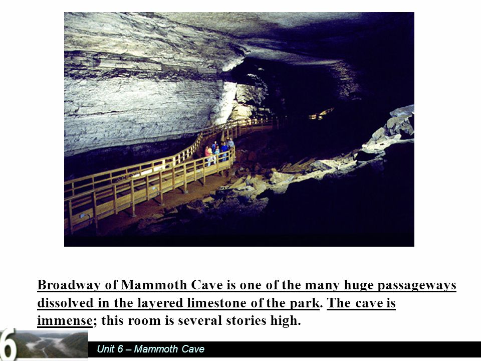 Unit 6 – Mammoth Cave Broadway of Mammoth Cave is one of the many huge passageways dissolved in the layered limestone of the park.