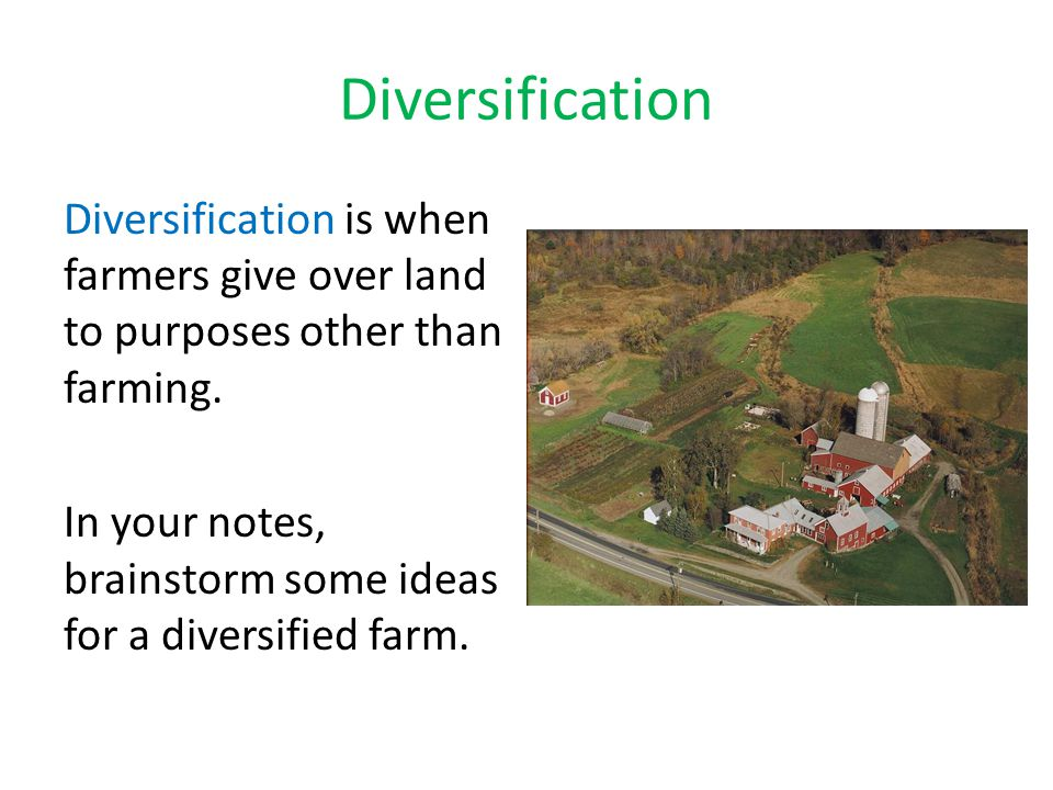 Diversification Diversification is when farmers give over land to purposes other than farming. In your notes, brainstorm some ideas for a diversified