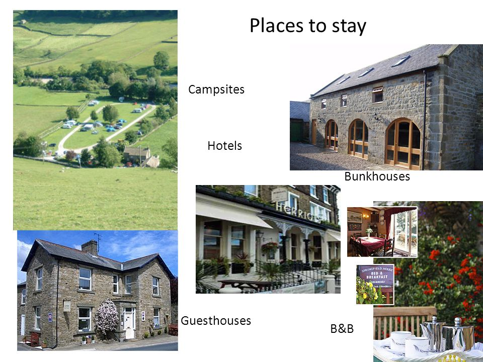 Places to stay Bunkhouses Campsites Hotels Guesthouses B&B