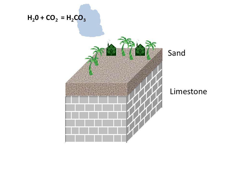 Limestone Sand H 2 0 + CO 2 = H 2 CO 3
