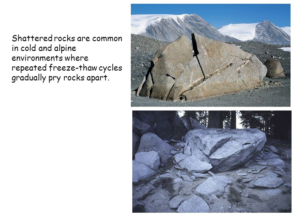 Shattered rocks are common in cold and alpine environments where repeated freeze-thaw cycles gradually pry rocks apart.