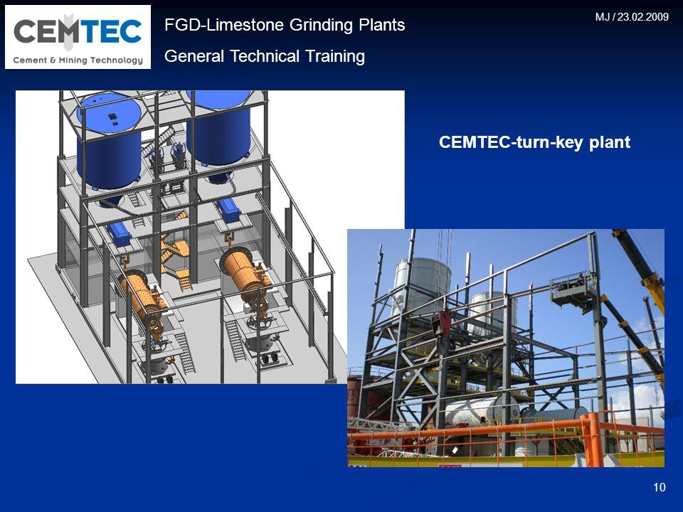 FGD-Limestone Grinding Plants General Technical Training MJ / 23.02.2009 10 CEMTEC-turn-key plant
