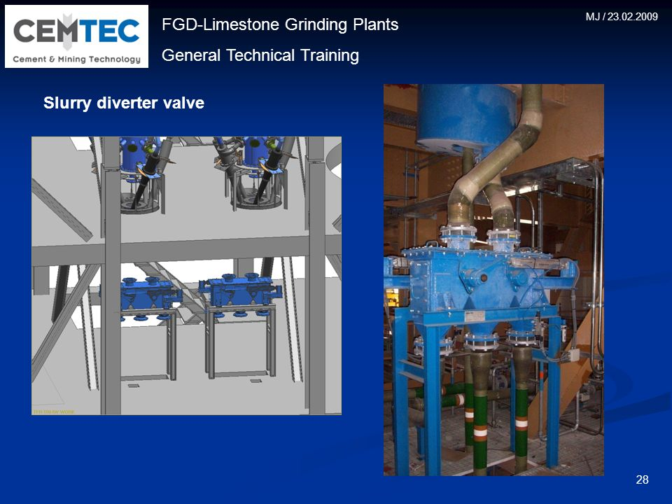 FGD-Limestone Grinding Plants General Technical Training MJ / 23.02.2009 28 Slurry diverter valve