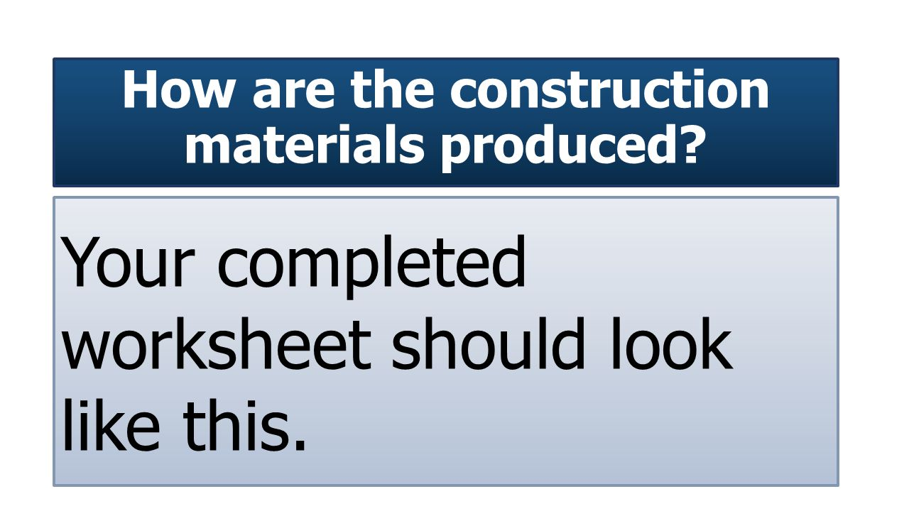 How are the construction materials produced Your completed worksheet should look like this.