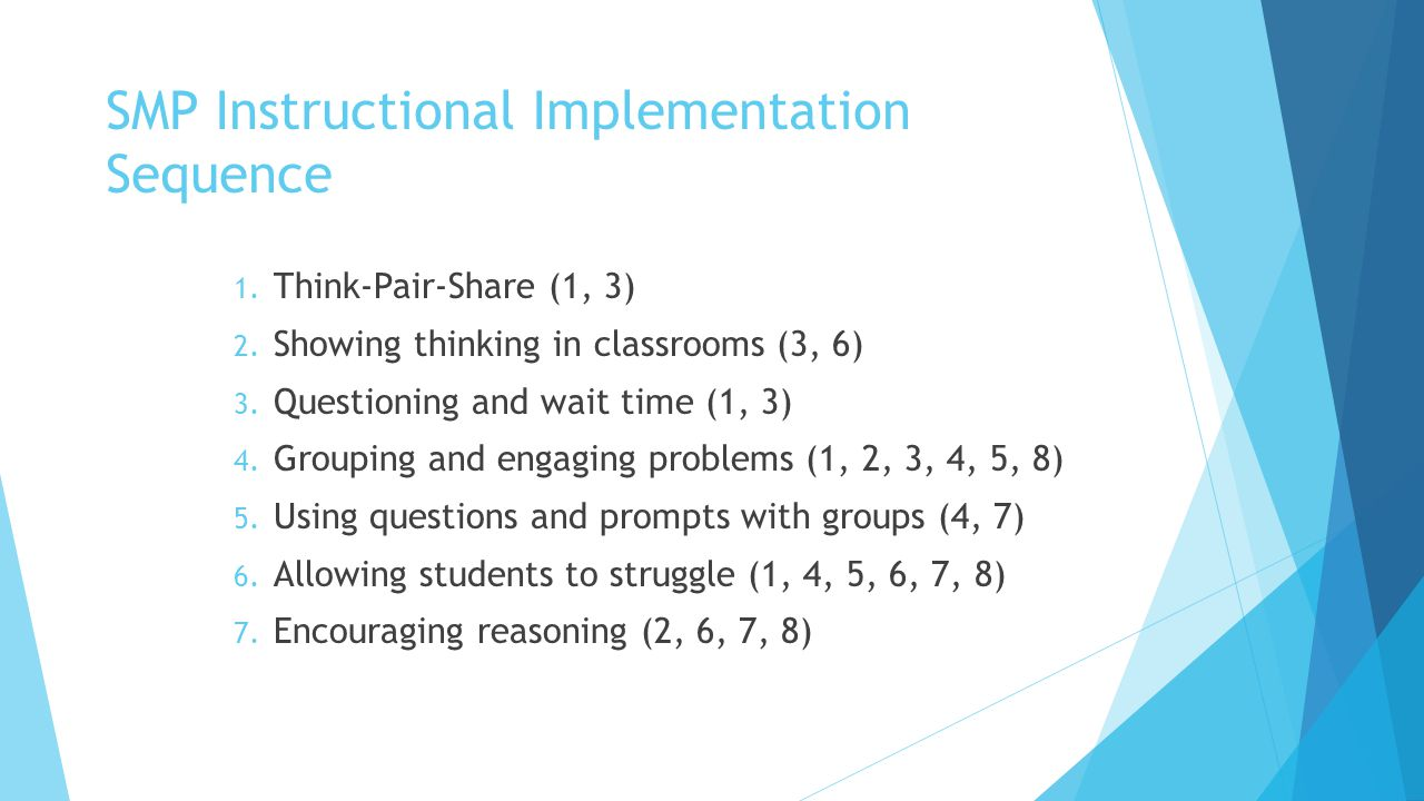 SMP Instructional Implementation Sequence 1. Think-Pair-Share (1, 3) 2. Showing thinking in classrooms (3, 6) 3. Questioning and wait time (1, 3) 4. G