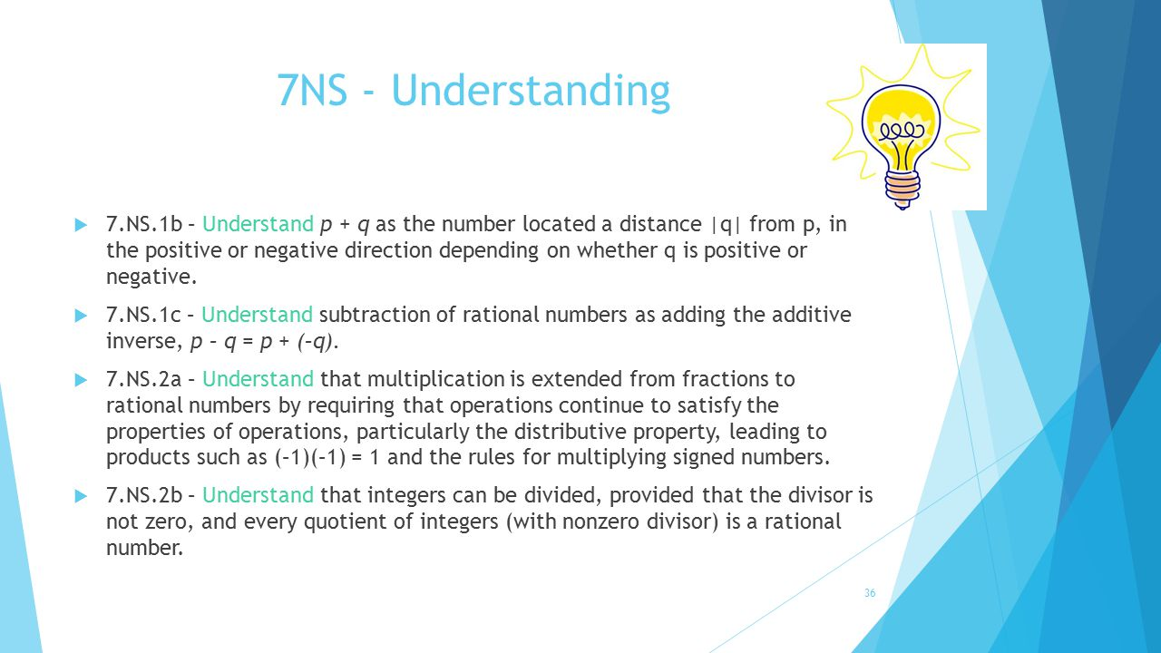 7NS - Understanding  7.NS.1b – Understand p + q as the number located a distance |q| from p, in the positive or negative direction depending on wheth
