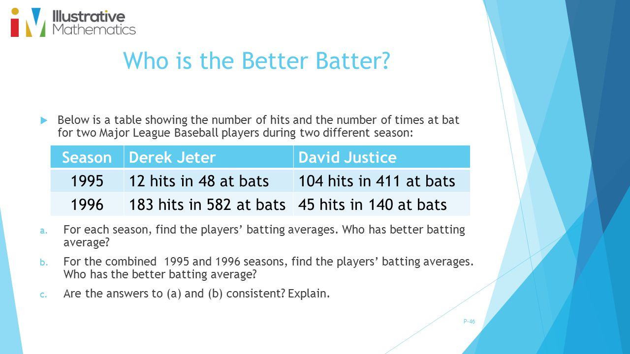 Who is the Better Batter? P-46  Below is a table showing the number of hits and the number of times at bat for two Major League Baseball players duri