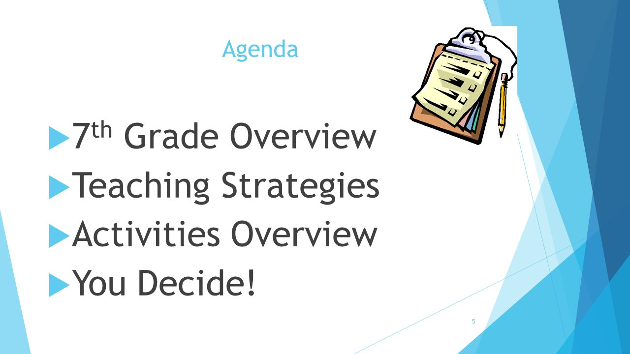 Agenda  7 th Grade Overview  Teaching Strategies  Activities Overview  You Decide! 5