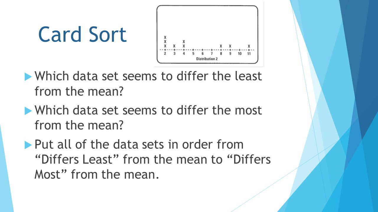 Card Sort  Which data set seems to differ the least from the mean?  Which data set seems to differ the most from the mean?  Put all of the data set