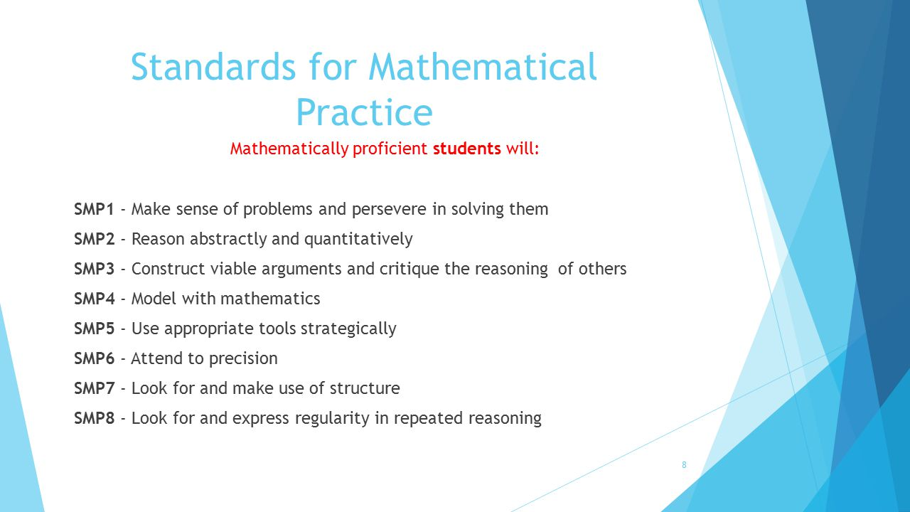 Standards for Mathematical Practice Mathematically proficient students will: SMP1 - Make sense of problems and persevere in solving them SMP2 - Reason
