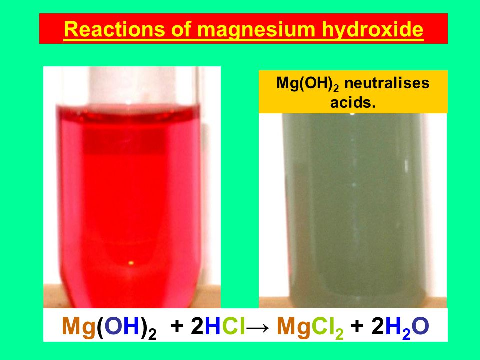 Reactions of magnesium hydroxide Mg(OH) 2 neutralises acids. Mg(OH) 2 + 2HCl→ MgCl 2 + 2H 2 O