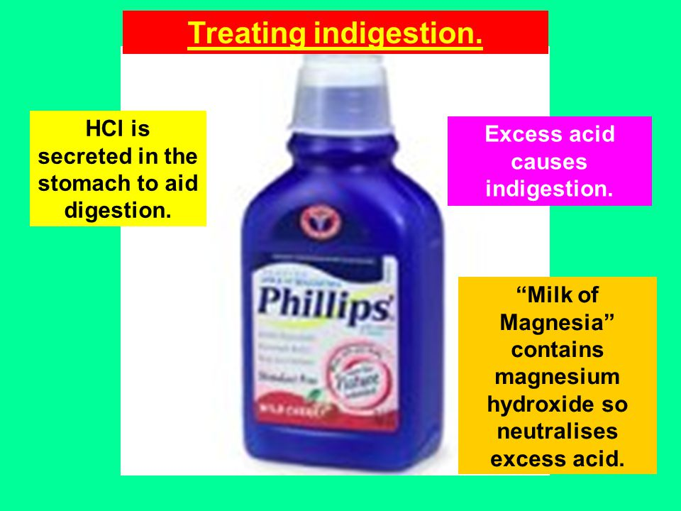 Treating indigestion. HCl is secreted in the stomach to aid digestion.