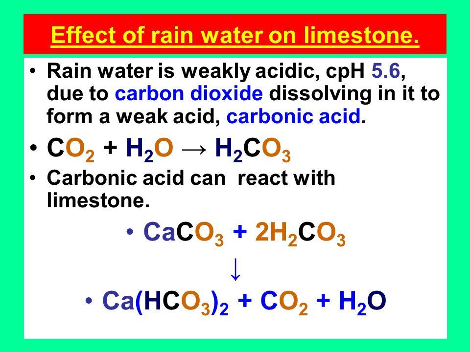 Effect of rain water on limestone.