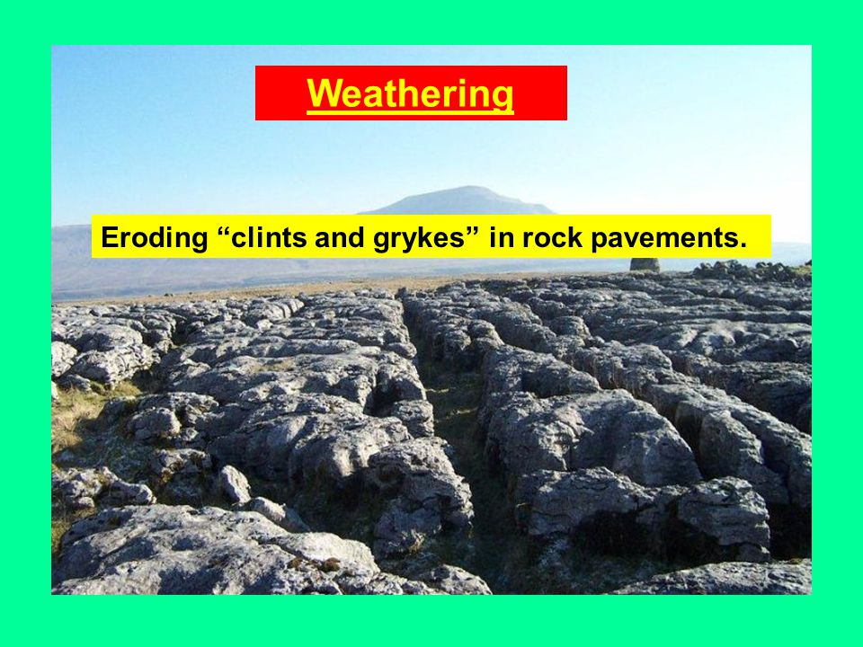 Weathering Eroding clints and grykes in rock pavements.