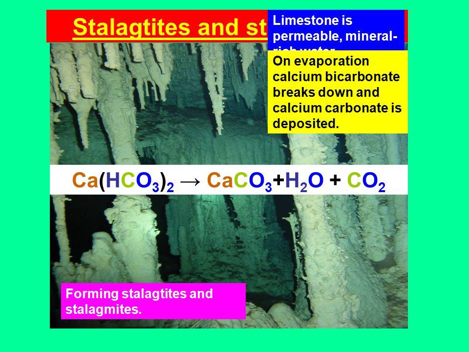 Stalagtites and stalagmites.