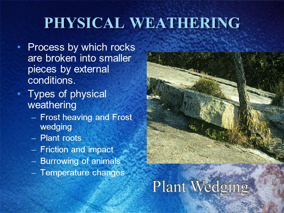 CHEMICAL WEATHERING The process that breaks rock through chemical changes The agents of chemical weathering –Water –Oxygen –Carbon dioxide –Living organisms –Acid rain