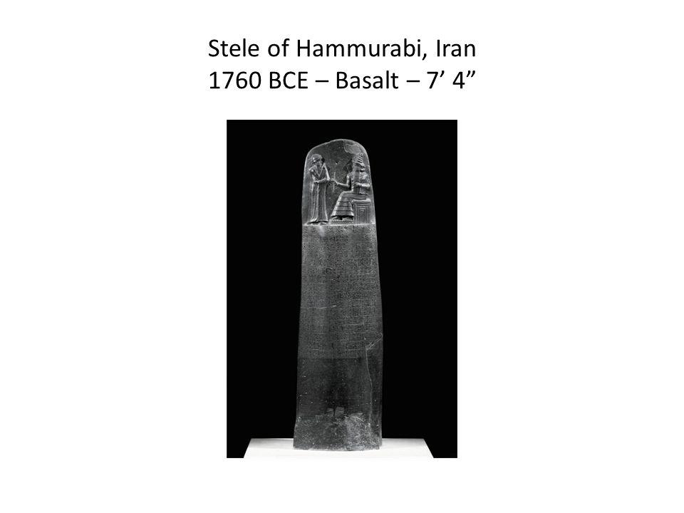 Stele of Hammurabi, Iran 1760 BCE – Basalt – 7' 4