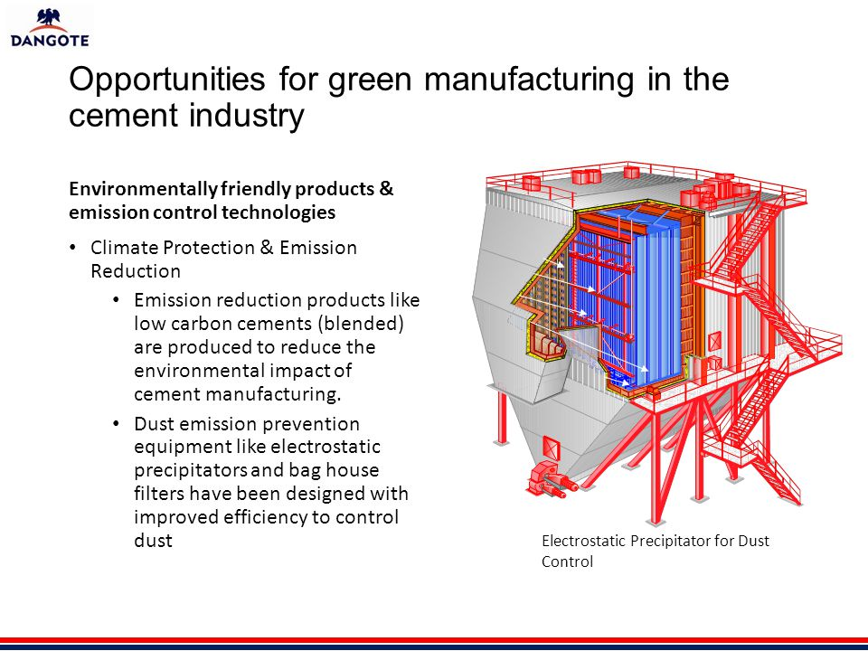 Opportunities for green manufacturing in the cement industry Environmentally friendly products & emission control technologies Climate Protection & Emission Reduction Emission reduction products like low carbon cements (blended) are produced to reduce the environmental impact of cement manufacturing.
