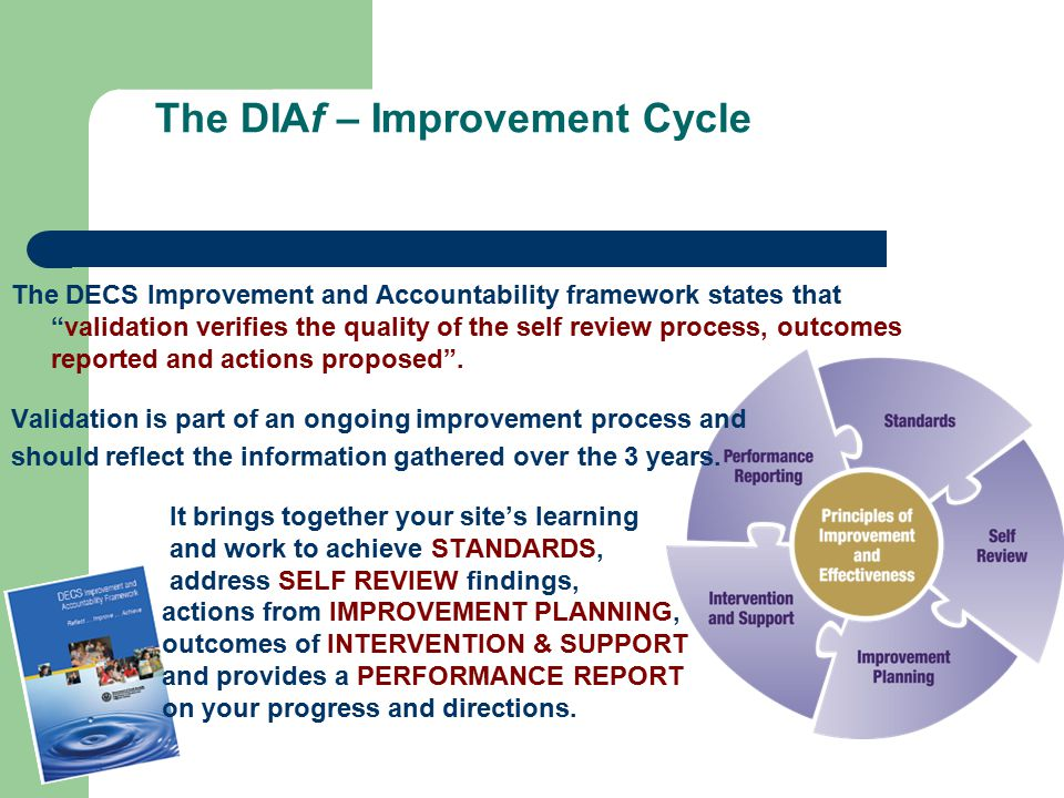 The DIAf – Improvement Cycle The DECS Improvement and Accountability framework states that validation verifies the quality of the self review process, outcomes reported and actions proposed .