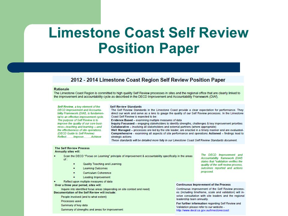 Limestone Coast Self Review Position Paper