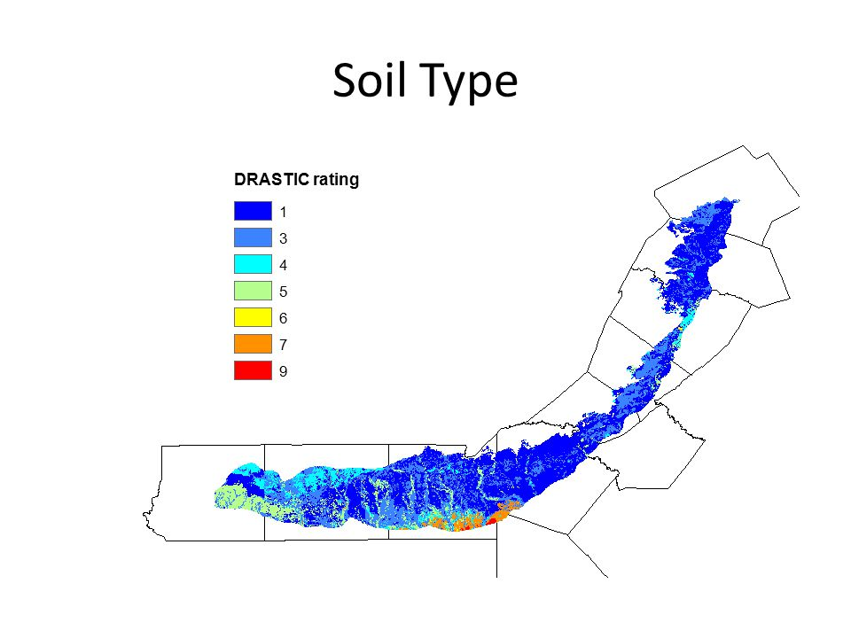 Soil Type DRASTIC rating 1 3 4 5 6 7 9