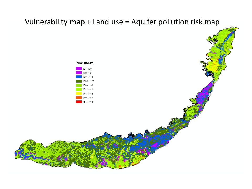 Vulnerability map + Land use = Aquifer pollution risk map Risk Index 92 - 100 100- 108 108 - 116 1168 - 124 124 - 133 133 - 141 141 - 149 149 - 157 157 - 166