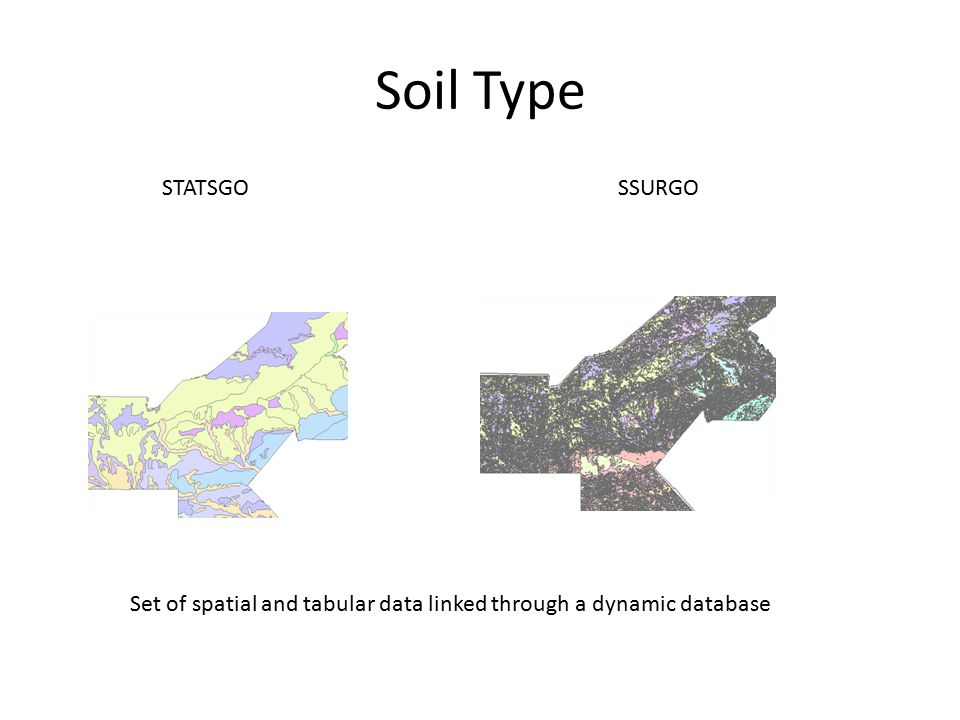 Soil Type STATSGOSSURGO Set of spatial and tabular data linked through a dynamic database