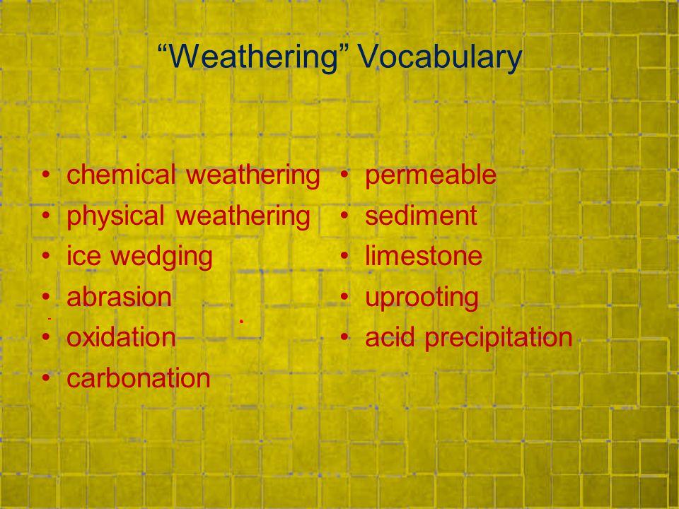 Weathering Vocabulary chemical weathering physical weathering ice wedging abrasion oxidation carbonation permeable sediment limestone uprooting acid precipitation