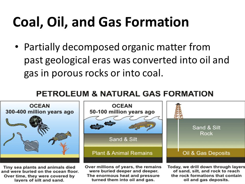 Coal, Oil, and Gas Formation Partially decomposed organic matter from past geological eras was converted into oil and gas in porous rocks or into coal