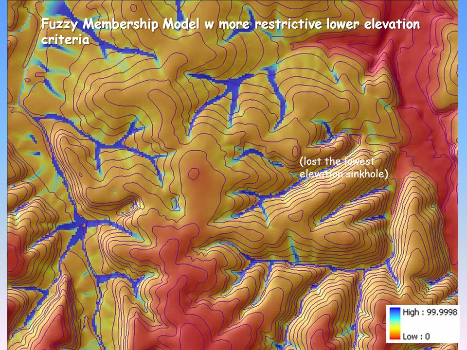 Fuzzy Membership Model w more restrictive lower elevation criteria (lost the lowest elevation sinkhole)