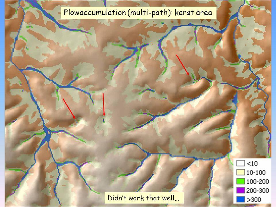 Flowaccumulation (multi-path): karst area Didn't work that well…