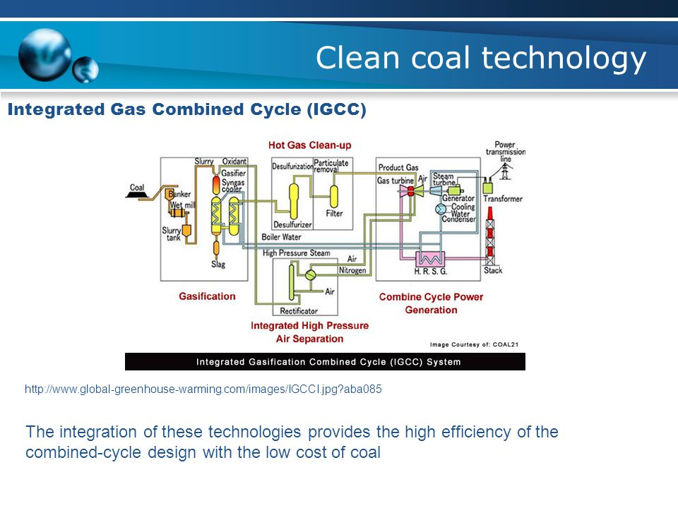 Clean coal technology Integrated Gas Combined Cycle (IGCC) http://www.global-greenhouse-warming.com/images/IGCCI.jpg?aba085 The integration of these t