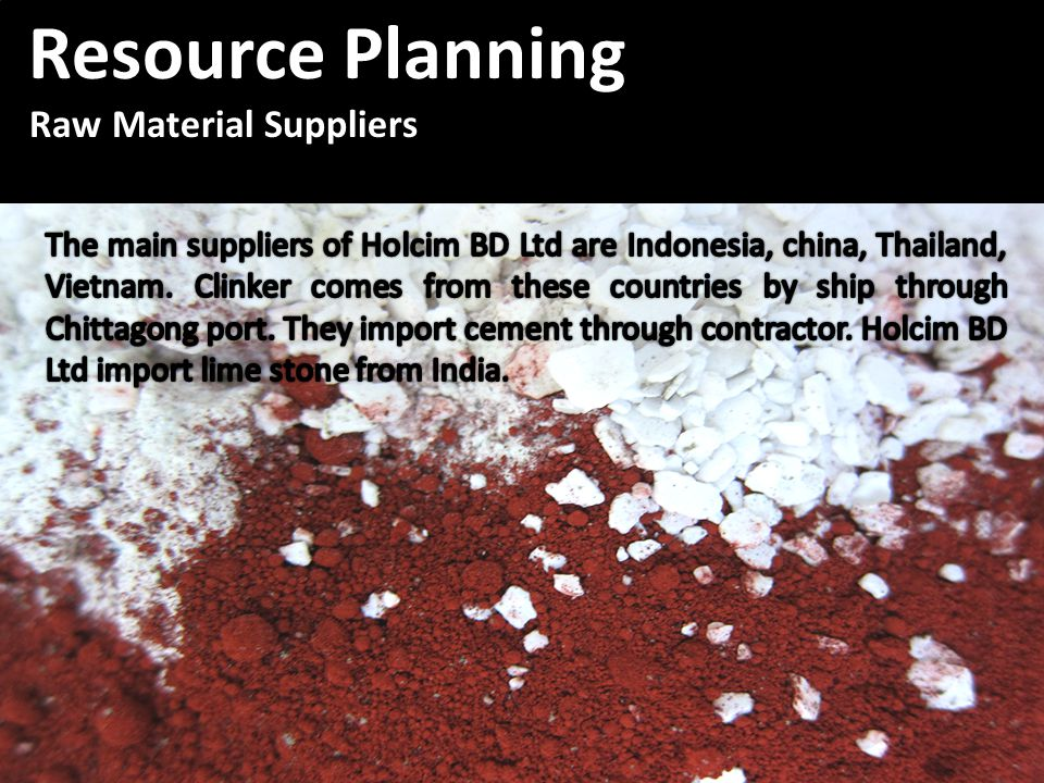 Resource Planning Resource Planning Raw Material Suppliers Raw Material Suppliers Resource Planning Resource Planning Raw Material Suppliers Raw Material Suppliers