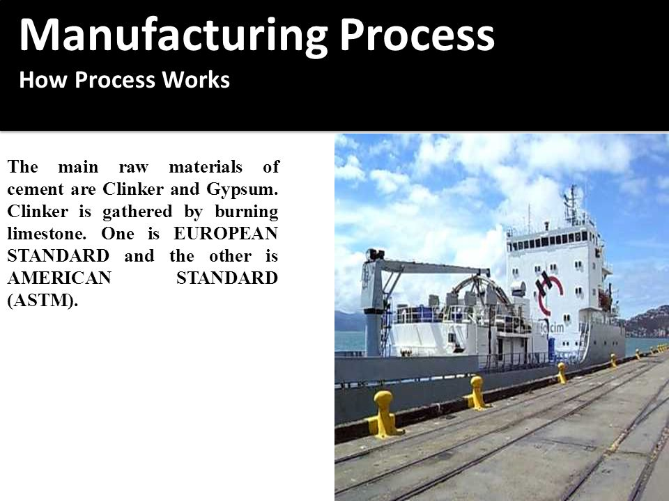 Manufacturing Process Manufacturing Process How Process Works How Process Works Manufacturing Process Manufacturing Process How Process Works How Process Works The main raw materials of cement are Clinker and Gypsum.