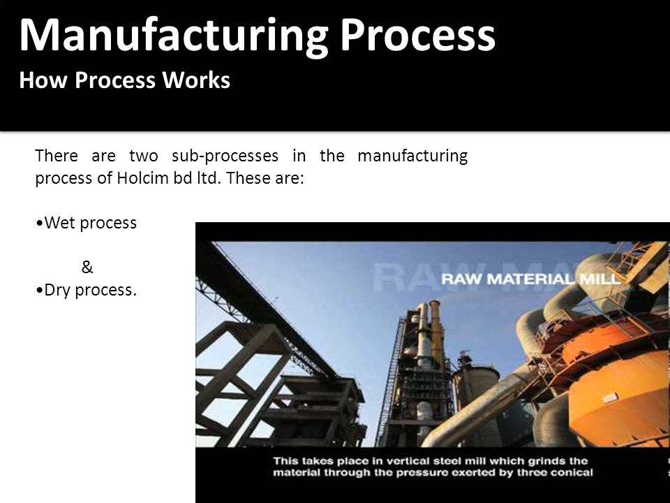Manufacturing Process Manufacturing Process How Process Works How Process Works Manufacturing Process Manufacturing Process How Process Works How Process Works There are two sub-processes in the manufacturing process of Holcim bd ltd.