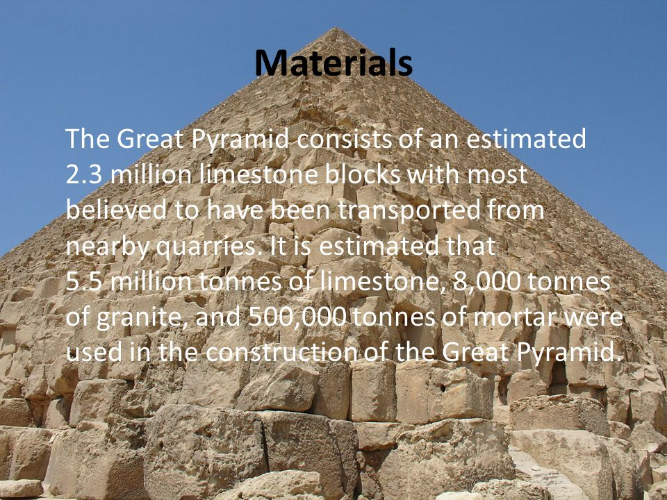 Size It is thought that, at construction, the Great Pyramid was originally 146.5 metres tall.