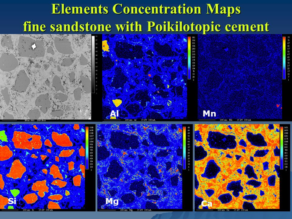 Elements Concentration Maps fine sandstone with Poikilotopic cement AlMn SiMg Ca