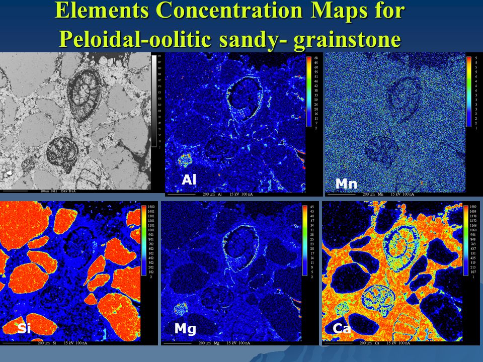 Elements Concentration Maps for Peloidal-oolitic sandy- grainstone Al Mn SiMgCa