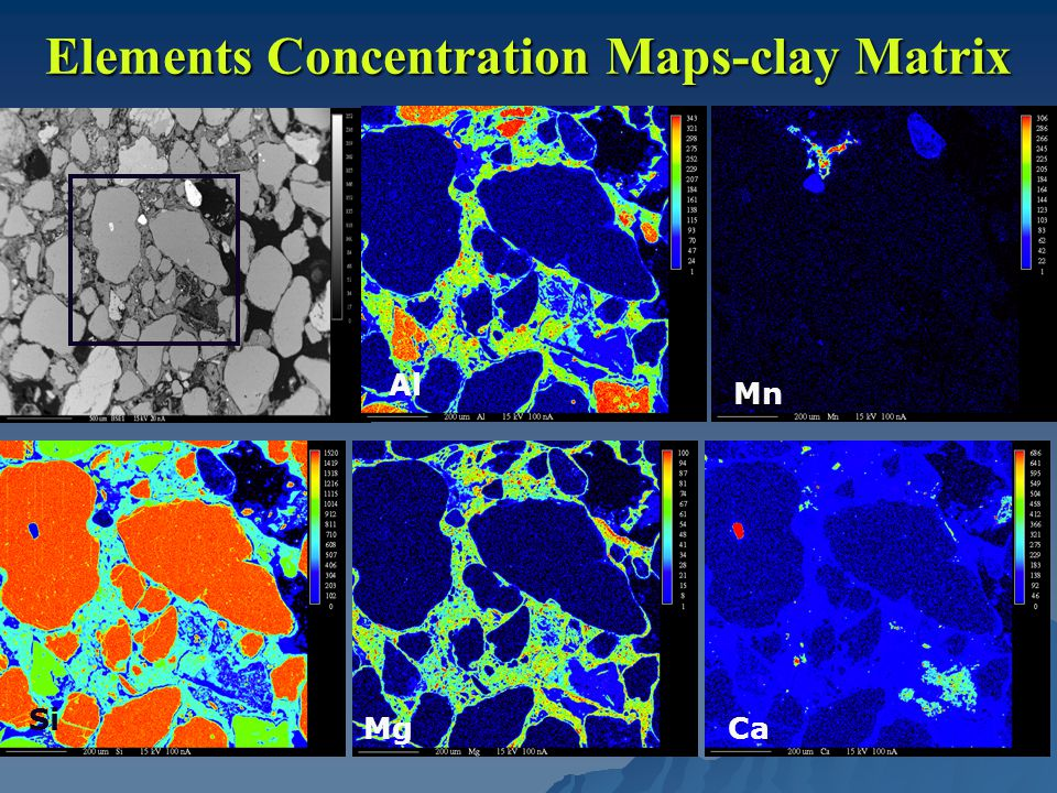 Elements Concentration Maps-clay Matrix Al Mn Si MgCa