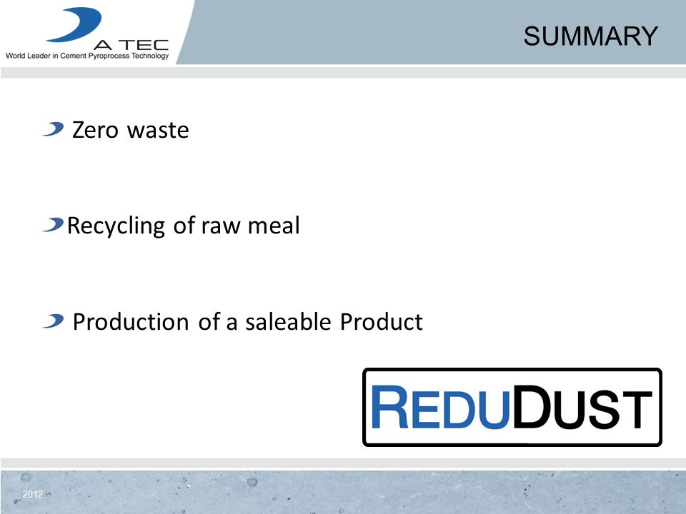 2012 SUMMARY Zero waste Recycling of raw meal Production of a saleable Product