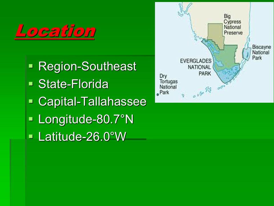 Location  Region-Southeast  State-Florida  Capital-Tallahassee  Longitude-80.7°N  Latitude-26.0°W