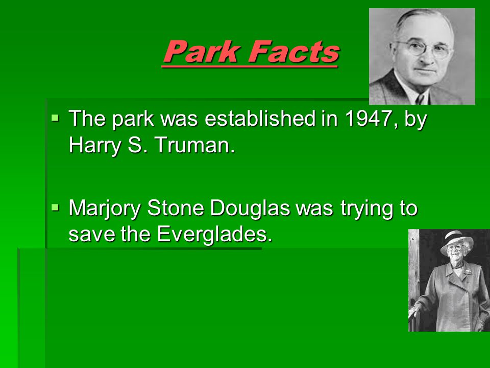 Park Facts  The park was established in 1947, by Harry S.