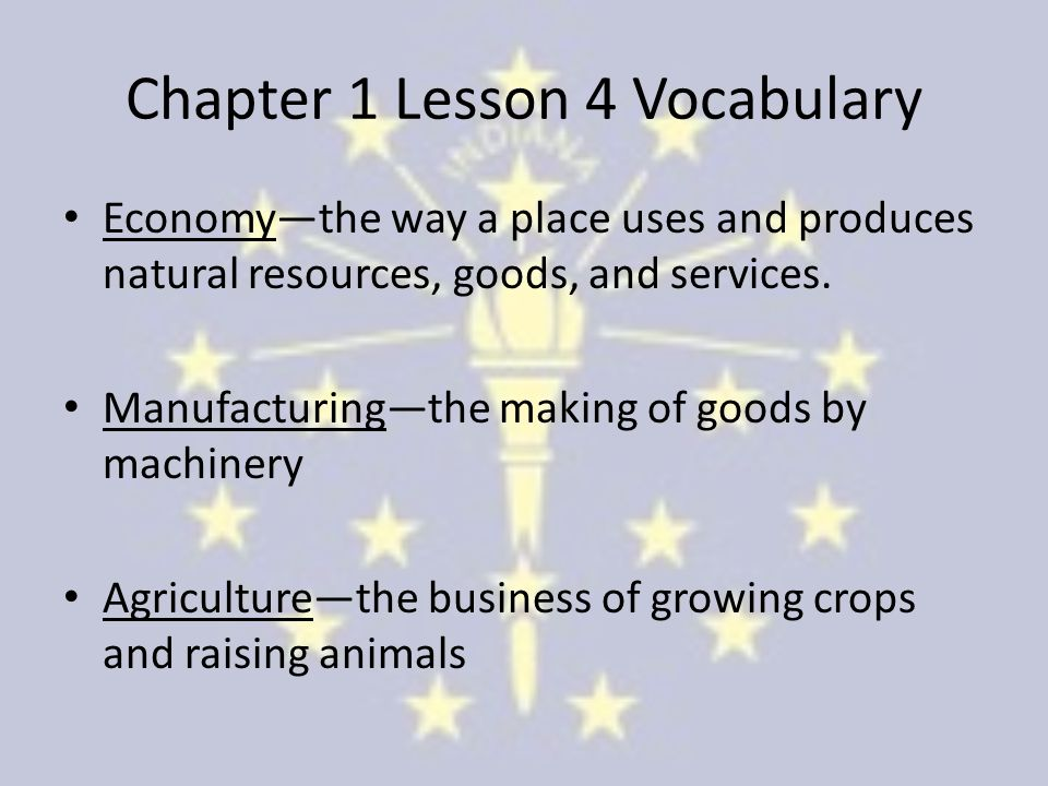 Chapter 1 Lesson 4 Vocabulary Economy—the way a place uses and produces natural resources, goods, and services.