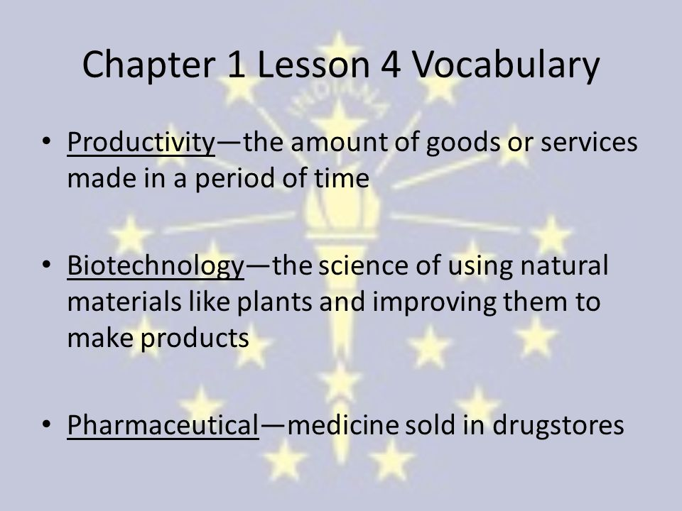 Chapter 1 Lesson 4 Vocabulary Productivity—the amount of goods or services made in a period of time Biotechnology—the science of using natural materials like plants and improving them to make products Pharmaceutical—medicine sold in drugstores
