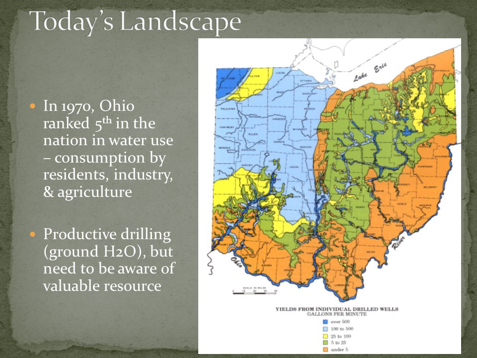 In 1970, Ohio ranked 5 th in the nation in water use – consumption by residents, industry, & agriculture Productive drilling (ground H2O), but need to be aware of valuable resource