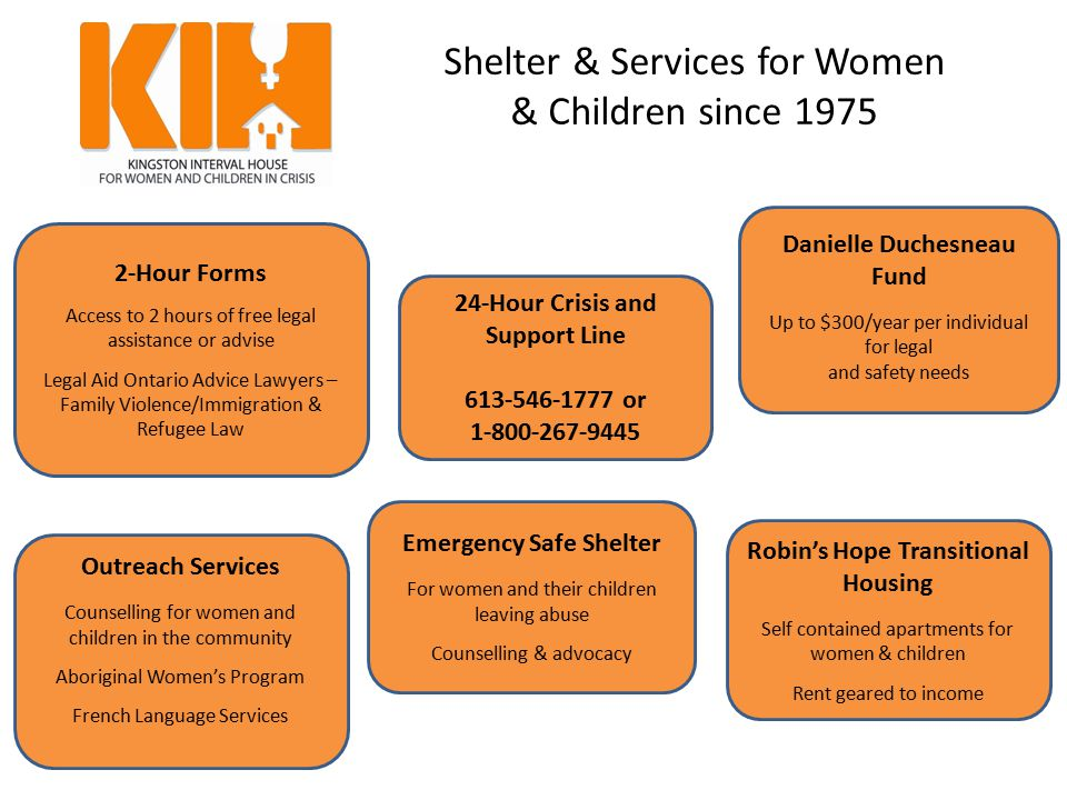 Shelter & Services for Women & Children since 1975 Emergency Safe Shelter For women and their children leaving abuse Counselling & advocacy 2-Hour For